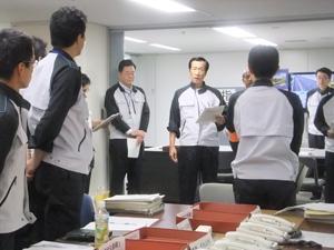 今年8月30日に実施した防災訓練(社内での災害対策本部設置訓練)の様子