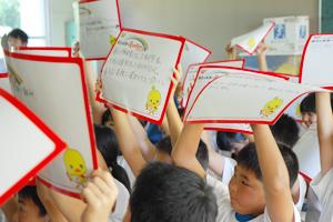 2013年9月20日に行われた「東北の未来へRUNRUN!プロジェクト」の「クリエイティブシンキング教室」の様子