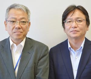『揺れモニ』のプロジェクトを担う都市建築設計部・構造エンジニアリング部門長の横田和伸さん(右)と、グリーンITビルプロジェクト本部・プロジェクト推進担当課長の栗田聖也さん(左)