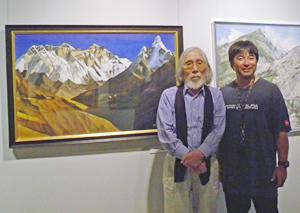 山岳画協会展にて三浦豪太氏と