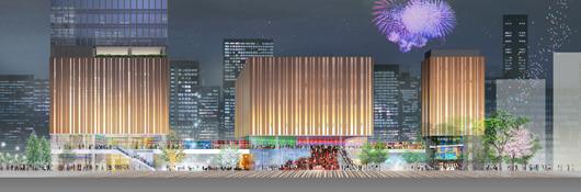 8つの劇場を有する「Hareza池袋」は2020年グランドオープン。新ホール・豊島区新区民センターは、 一足早く2019年春にオープンする予定だ(中池袋公園側から見た整備後のイメージ)