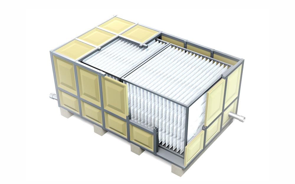 『繊維担体』が簡易に設置できる「ユニット型排水処理システム」。タンク容量は10㎥~、サイズは1・5×3×3m~と小型化を実現(写真全て提供:帝人フロンティア)
