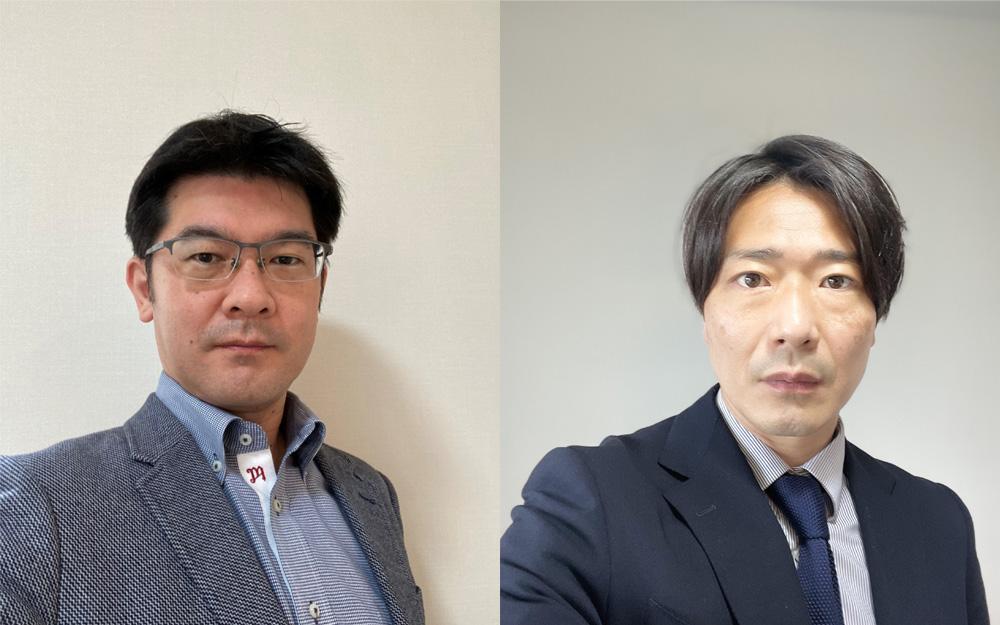 このシステムを担当する、同社産資営業企画部開発推進グループ長の丹下真也さん(左)と、機能資材第二部機能不織布・製品課の西川知宏さん(右)